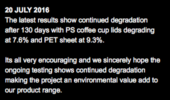20 JULY 2016 The latest results show continued degradation after 130 days with PS coffee cup lids degrading at 7.6% and PET sheet at 9.3%. Its all very encouraging and we sincerely hope the ongoing testing shows continued degradation making the project an environmental value add to our product range.