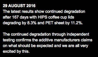 29 AUGUST 2016 The latest results show continued degradation after 167 days with HIPS coffee cup lids degrading by 8.3% and PET sheet by 11.2%. The continued degradation through independent testing confirms the additive manufacturers claims on what should be expected and we are all very excited by this.